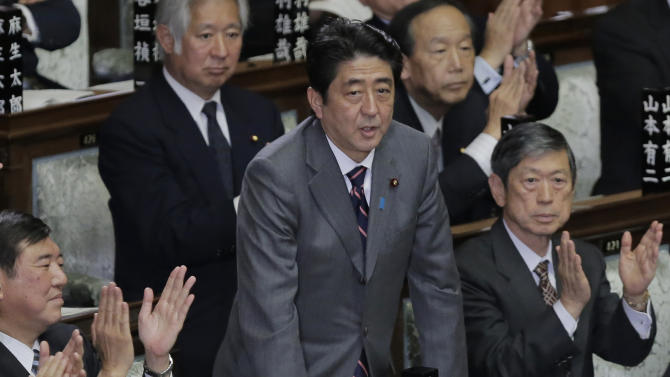 Japan's Liberal Democratic Party leader Shinzo Abe bows after being named Japan's new prime minister during the plenary session at the lower house of Parliament in Tokyo, Wednesday, Dec. 26, 2012. The rise of Abe, whose nationalist positions have in the past angered Japan's neighbors, ends more than three years at the helm for the left-leaning Democratic Party of Japan and brings back the conservative, pro-big business LDP that governed for most of the post-World War II era. (AP Photo/Itsuo Inouye)