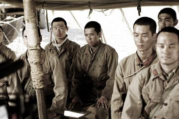 Kazunari Ninomiya as Saigo and Ryo Kase as Shimizu in Warner Bros. Pictures' Letters From Iwo Jima