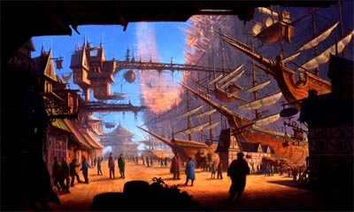 A busy port in Disney's Treasure Planet