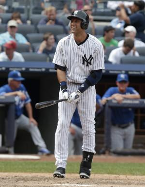 New York Yankees' Derek Jeter reacts during a sixth-inning at-bat in a baseball game against the Kansas City Royals at Yankee Stadium on Thursday, July 11, 2013, in New York. The Yankees beat the Royals 8-4. Jeter left the game early with a tight right quadriceps. (AP Photo/Seth Wenig)
