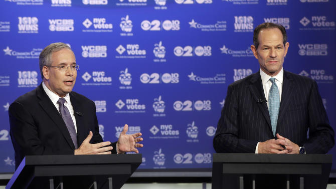 Manhattan borough president Scott Stringer, left, and former New York Gov. Eliot Spitzer, both Democrats, participate in a primary debate for New York City comptroller in the WCBS-TV studios, Thursday, Aug. 22, 2013, in New York. (AP Photo/Frank Franklin II, Pool)