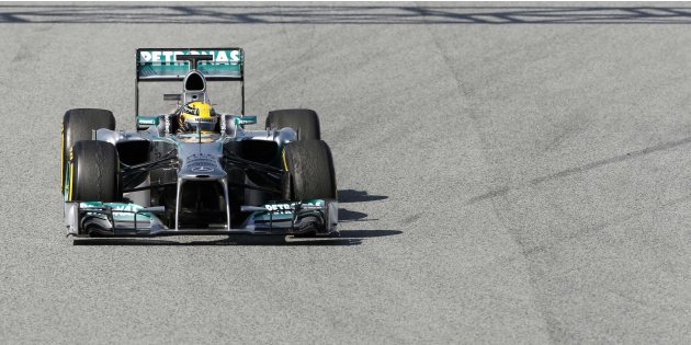 Mercedes Formula One driver Hamilton drives during a training session at Circuit de Catalunya racetrack in Montmelo