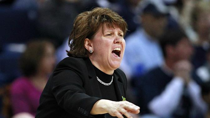 Delaware head coach Tina Martin calls to her players during the first half of a regional semifinal in the women's NCAA college basketball tournament against Kentucky in Bridgeport, Conn., Saturday, March 30, 2013. (AP Photo/Charles Krupa)