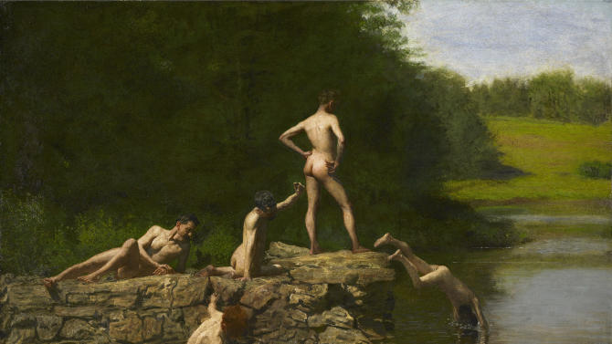 This undated photo provided by the  Amon Carter Museum of American Art, shows Thomas Eakins', Swimming. The painting will be included in an exhibit opening next year at the Dallas Museum of Art that will feature almost all of the works of art gathered from museums and prominent Fort Worth citizens for the hotel suite John F. Kennedy and first lady Jacqueline Kennedy stayed in the night before he was assassinated. (AP Photo/  Amon Carter Museum of American Art)