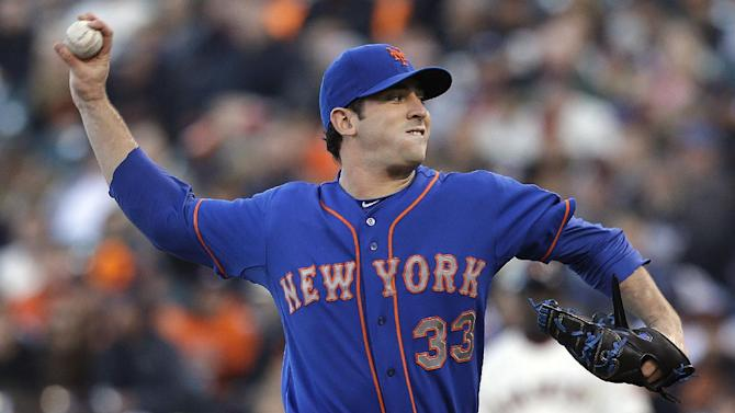 New York Mets pitcher Matt Harvey (33) throws against the San Francisco Giants during the first inning of a baseball game in San Francisco, Monday, July 8, 2013. (AP Photo/Jeff Chiu)