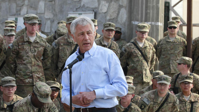 U.S. Defense Secretary Chuck Hagel speaks to members of the U.S. Army 101st Airborne Division at Jalalabad Airfield in eastern Afghanistan, Saturday, March 9, 2013. It is Hagel's first official trip since being sworn-in as President Barack Obama's defense secretary. (AP Photo/Jason Reed, Pool)