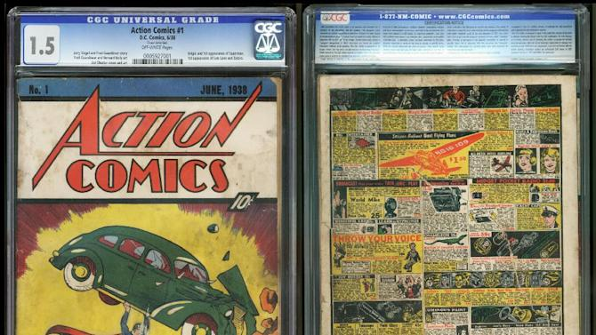 "In this image provided by Metropolis Collectibles/ComicConnect, Corp., shows the front and back cover of ""Action Comics No. 1"" from 1938, featuring the debut of Superman, that was found by David Gonzales mixed in with old newspapers insulating a wall in a house he was renovating in a small town in Minnesota. Gonzalez did some research that confirmed the comic was valuable, though not as much as it could have been. He got into a heated discussion with a relative about its value, and the back cover got ripped lowering the grade to 1.5 based on a 10-point scale. (AP Photo/Metropolis Collectibles, Inc./ComicConnect, Corp.)"