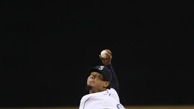 Seattle Mariners pitcher Felix Hernandez in action against the Oakland Athletics during a baseball game on Saturday, Sept. 13, 2014 in Seattle. (AP Photo/John Froschauer)