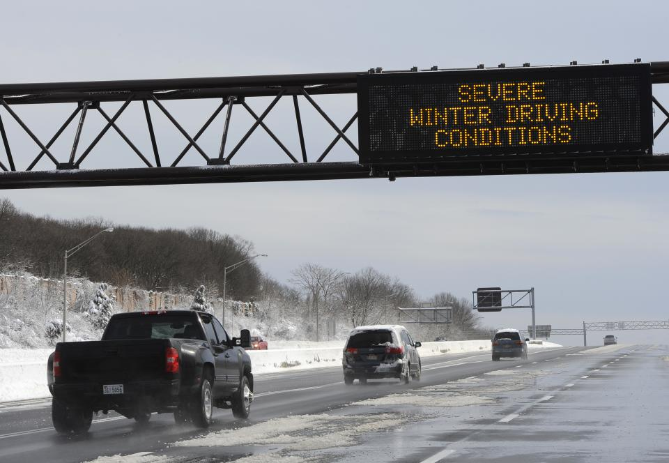 A sign on the Long Island Expressway warns drivers traveling eastbound near exit 49 after a snow storm on Saturday, Feb. 9, 2013 in Plainview, N.Y. (AP Photo/Kathy Kmonicek)