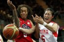 Augustus of the U.S. and China's Song go after the ball during their women's preliminary round Group A basketball match at the Basketball Arena during the London 2012 Olympic Games