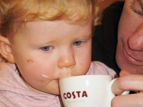 Baby Drinking Coffee