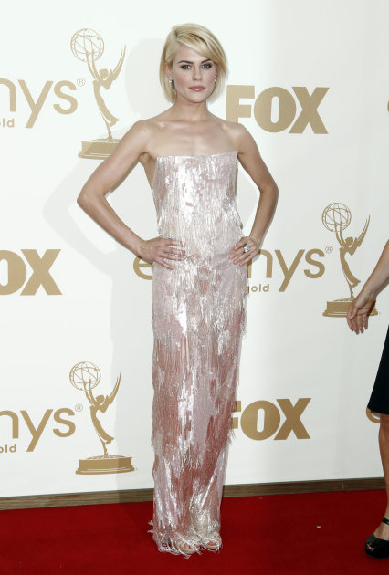 Rachael Taylor arrives at the 63rd Primetime Emmy Awards on Sunday, Sept. 18, 2011 in Los Angeles. (AP Photo/Matt Sayles)