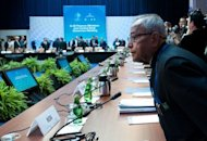 Indian Finance Minister Pranab Mukherjee takes his seat at the G20 Finance Ministers and Central Bank Governors Meeting in Washington, DC. The IMF raised $430 billion in new funds for crisis intervention Friday, with China and other emerging economic giants taking part despite worries the money will be used for more eurozone bailouts