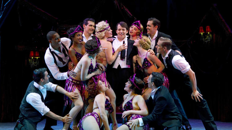 "In this publicity photo provided by Boneau/Bryan-Brown, Matthew Broderick, center, and the cast of the new musical comedy ""Nice Work If You Can Get It"" perform at Broadway's Imperial Theatre in New York. (AP Photo/Boneau/Bryan-Brown, Joan Marcus)"