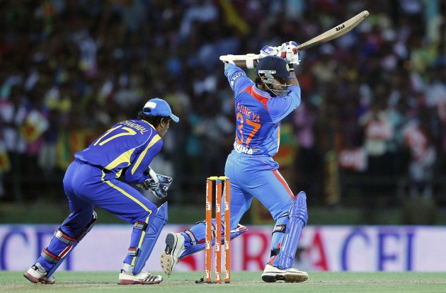 India's Rahane plays a shot during their Twenty20 match against Sri Lanka in Pallekele