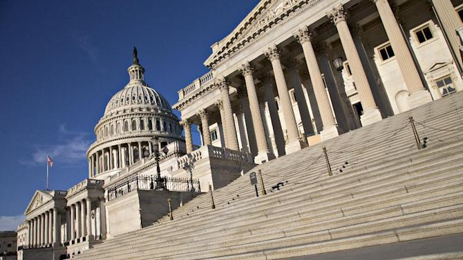The Capitol is seen in Washington, early Thursday, Sept. 5, 2013, as Congress considers President Barack Obama's request for authorization of military intervention in Syria in response to last month's alleged sarin gas attack in the Syrian civil war. (AP Photo/J. Scott Applewhite)