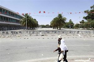 The capital's central Bardo square, where Tunisia's Constituent Assembly is located, is seen sealed off, in Tunis