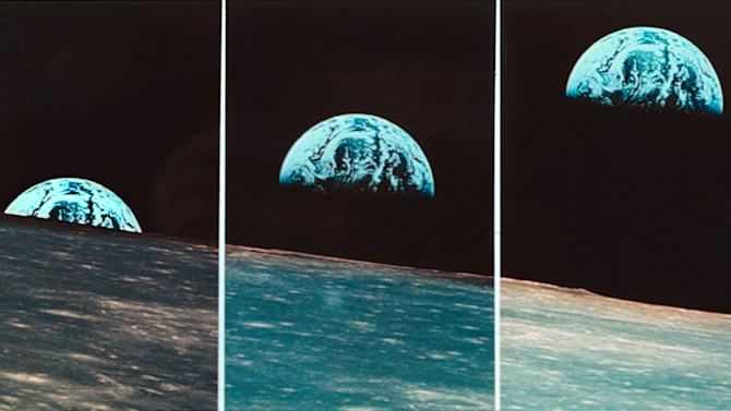 """FILE - This file three-picture sequence made from May 21, 1969 photos provided by NASA shows the Earth rising above the moon, taken from Apollo 10 during their return from the sunless backside into the sunny side of the moon. Apollo 10 launched on May 18, 1969, and spent 192 hours 3 minutes 23 seconds in space. NASA, the agency that epitomized the """"Right Stuff,"""" looks lost in space and doesn't have a clear sense of where it is going, an independent panel of science and engineering experts said in a stinging report Wednesday. (AP Photo/NASA, File)"""