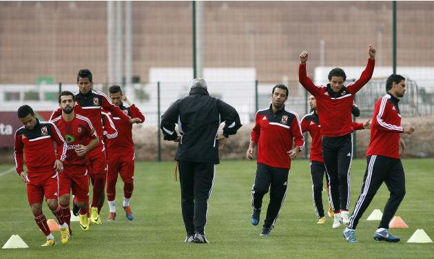 Egypt's Al Ahly players take part in a practice session in preparation for the FIFA Club World Cup in Agadir