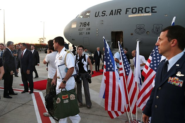 Defense Leon Panetta is welcomed upon his arrival in Tel Aviv, Israel, Tuesday, July 31, 2012. Panetta is on a four day trip to the Middle-East with stops in Tunisia, Egypt, Israel and Jordan before returning to Washington. (AP Photo/Mark Wilson, Pool)