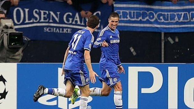 Fernando Torres, right, hit a pair of goals for Chelsea