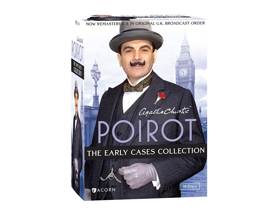 "This DVD box set image released by Acorn Media shows ""Poirot: The Early Cases Collection."" Agatha Christie's most famous sleuth is on the case in 45 whodunits from the first six series of the TV phenomenon starring David Suchet in the title role. (AP Photo/Acorn Media)"
