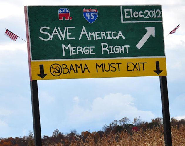 A homemade anti-Obama sign in Perry County, Ohio. (Chad Wilkins)