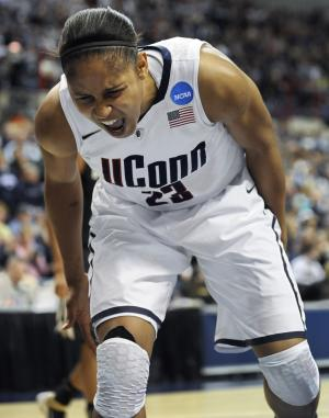 Connecticut's Maya Moore reacts after teammate Tiffany Hayes is fouled during the first half of a second-round NCAA women's college tournament basketball game against Purdue, Tuesday, March 22, 2011, in Storrs, Conn. (AP Photo/Jessica Hill)