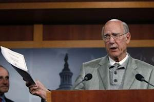 U.S. Senator Roberts addresses a news conference as he discusses his opposition to a vote on START Treaty on Capitol Hill in Washington