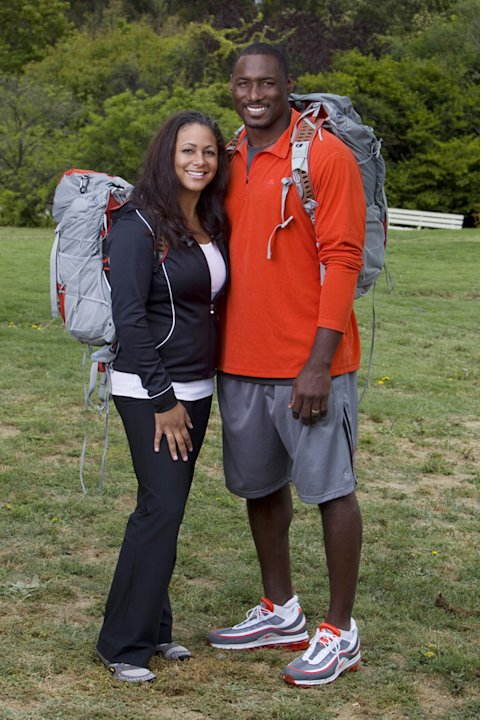 Married NFL couple Amani (left) and Marcus Pollard compete in &quot;The Amazing Race 19.&quot; 