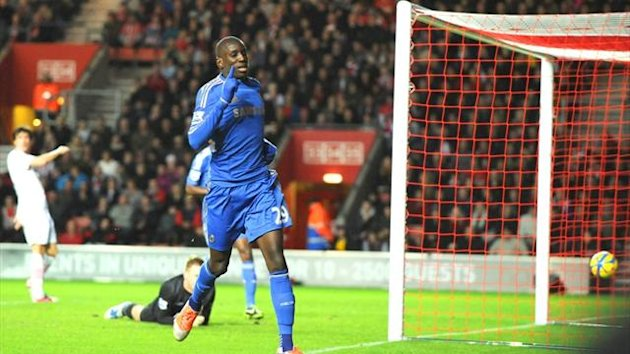 Demba Ba celebrates scoring on his debut against Southampton (AFP)
