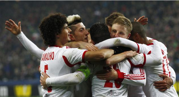 FC Salzburg's Jonatan Soriano celebrates with team mates their team's goal against Ajax Amsterdam during their Europa League soccer match in Salzburg