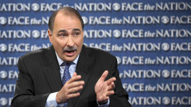 """In this photo provided by CBS News, David Axelrod, adviser to the Obama campaign, talks on CBS's """"Face the Nation"""" in Washington Sunday, Oct. 7, 2012. Axelrod spoke about President Barack Obama's intent during the presidential debate and again said he thought Romney was dishonest in his answers. (AP Photo/CBS News, Chris Usher)"""
