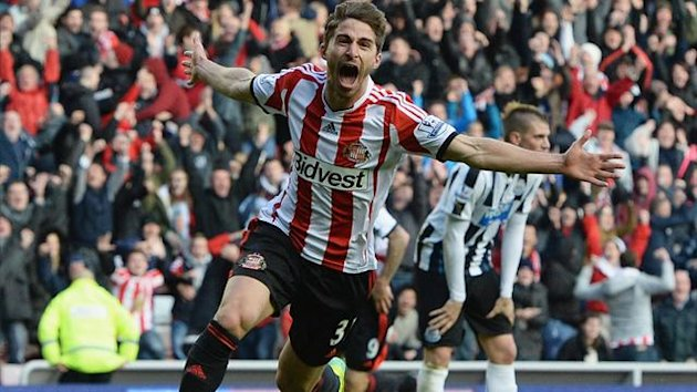 Sunderland's Fabio Borini celebrates scoring against Newcastle United