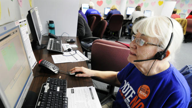 In this Oct. 23, 2012, photo, Louise Pardee calls fellow senior citizens from a Shoreview, Minn, phone bank to urge them to vote against a proposed constitutional ban on gay marriage on Minnesota's statewide ballot next month. The phone bank was sponsored by Minnesotans United for All Families, the campaign trying to defeat the amendment. (AP Photo/Jim Mone)