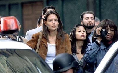 Katie Holmes as Pamela, waiting anxiously for news at a deadly situation centering around her publicist in 20th Century Fox's Phone Booth
