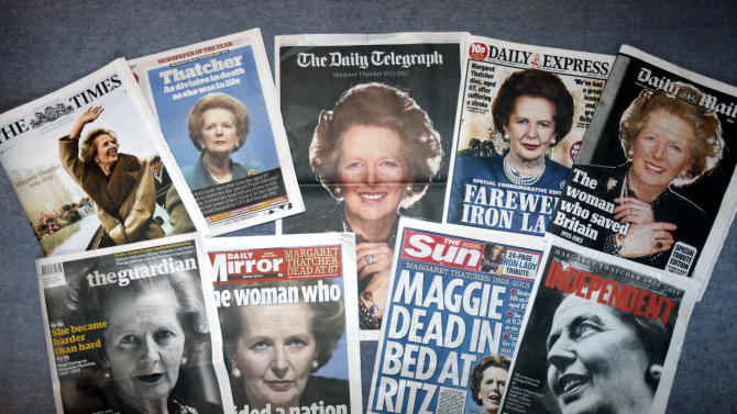 "British daily newspapers featuring front-page coverage of former British Prime Minister Margaret Thatcher's death, are seen in London, Tuesday, April 9, 2013. Thatcher, the combative ""Iron Lady"" who infuriated European allies, found a fellow believer in former U.S. President Ronald Reagan and transformed her country by a ruthless dedication to free markets in 11 bruising years as prime minister, died Monday, April 8, 2013. She was 87 years old. (AP Photo)"