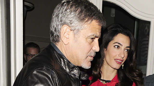 Amal Clooney Flashes the Paparazzi on Date Night With Famous Friends