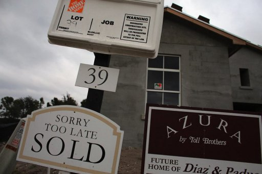 <p>A sold sign outside a Toll Brothers Inc home in Boca Raton, Florida. US home prices rose in September, a fresh sign of recovery in the ailing housing market, S&P/Case-Shiller data released Tuesday showed.</p>