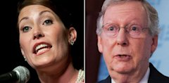 AP grimes mcconnell tk 130701 33x16 608 Alison Lundergan Grimes To Challenge Mitch McConnell For U.S. Senate In Kentucky
