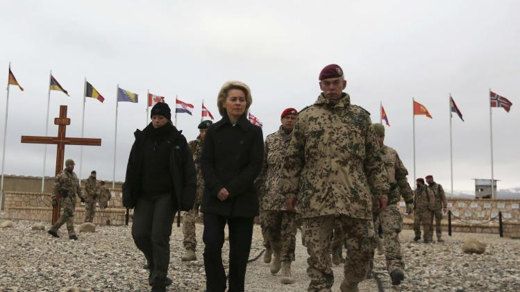 Newly appointed German Defence Minister Ursula von der Leyen attends a memorial ceremony in Mazar-i-Sharif