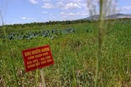A red warning poster reading &quot;Dioxin-contominated area. Livestock and poultry raising and fishing are probihited&quot;, is seen at the Ho Sen or Lotus Lake located next to Danang airport. Dozens of Vietnamese victims of Agent Orange have embarked on a controversial detoxification treatment plan developed by the Church of Scientology, a Hanoi hospital director says