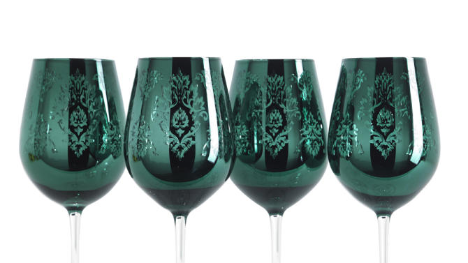 This undated publicity image provided by HomeGoods shows emerald glasses. Baccarat offers an emerald green wine glass, but these glasses from HomeGoods are considerably less expensive. www.homegoods.com (AP Photo/Homegoods)