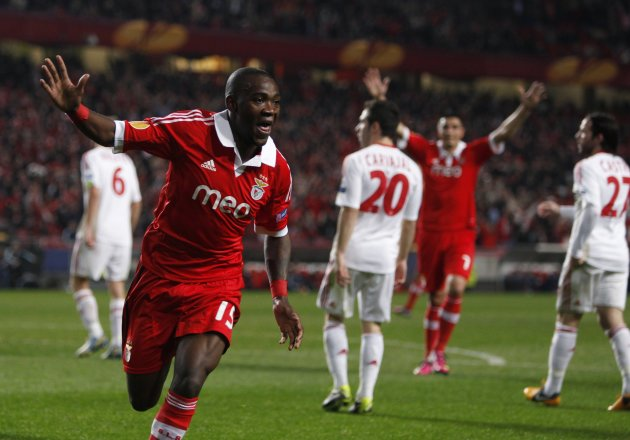 Benfica's John celebrates his goal against Bayer Leverkusen during their Europa League soccer match at Luz stadium in Lisbon