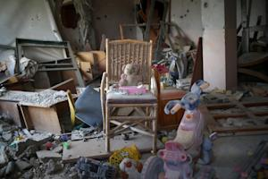 Toys are seen in a room where an NGO used to work with…