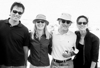 Executive producer Guy Riedel and producers Mary Jane Ufland , Harry Ufland , and Rachel Pfeffer on the set of Touchstone's crazy/beautiful