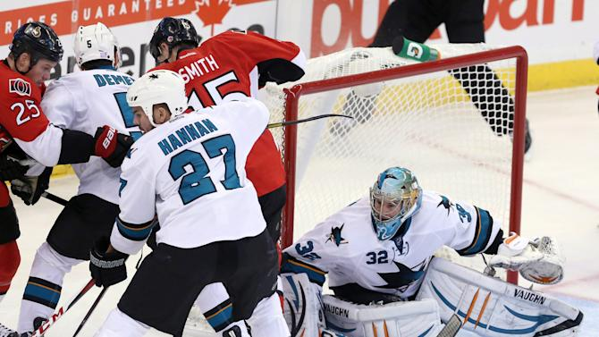 Stalock makes 38 saves, lifts Sharks over Senators