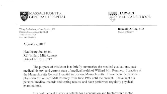 This handout image provided by the Romney Campaign shows the first of a two page healthcare statement from Republican presidential candidate and former Massachusetts Gov. Mitt Romney's doctor.    Mitt Romney's presidential campaign has released a letter from his doctor saying he's healthy and physically fit to meet the rigorous demands of a presidency.  (AP Photo/Romney Campaign)