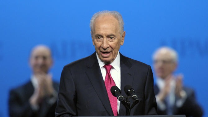 Israeli President Shimon Peres speaks at the American Israel Public Affairs Committee (AIPAC) Policy Conference's opening plenary session in Washington, Sunday, March 4, 2012. (AP Photo/Cliff Owen)