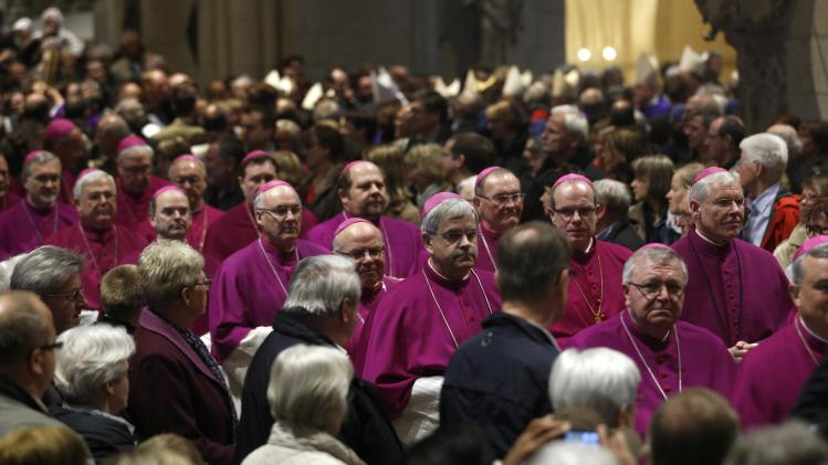 Bishops arrive for the opening mass in the cathedral during the annual German Bishops' Conference in Muenster